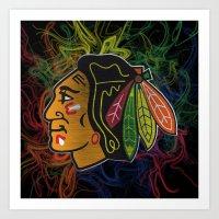 blackhawks swirl  Art Print