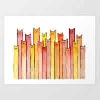 Cats Autumn Colors Pattern Art Print