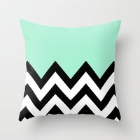 MINT GREEN COLORBLOCK CH… Throw Pillow