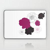 Black and Pink Roses on White Laptop & iPad Skin
