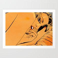 Girl in bed 1 Art Print