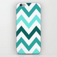 TRI-TONE TEAL CHEVRON iPhone & iPod Skin