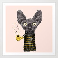 black cat Art Prints featuring Black Cat by dogooder