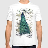 Peacock Dream Mens Fitted Tee White SMALL