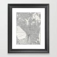 Vintage Seattle Map Framed Art Print