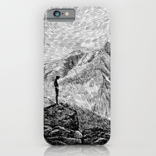 Child on the rock - Black ink iPhone & iPod Case