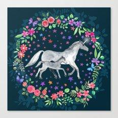 Mama and Baby Unicorn Canvas Print