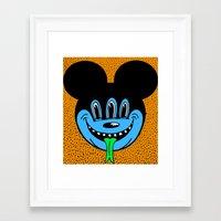 REPTILIAN MICKEYES. (Blue Face). Framed Art Print