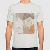 Vintage Postcards Mens Fitted Tee Silver SMALL