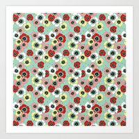 Colorful Poppies on Mint Green Background Art Print