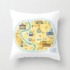 Rome Map Throw Pillow