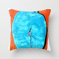 Blue Butt Throw Pillow