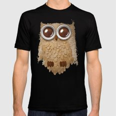 Owl Collage #6 Mens Fitted Tee SMALL Black