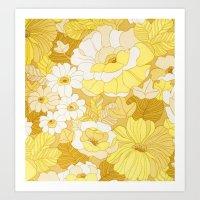 Retro Floral Sheets Yell… Art Print