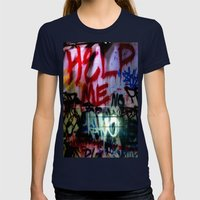 help me graffitti Womens Fitted Tee Navy SMALL