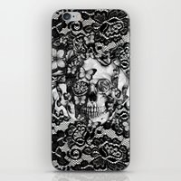 Rose Skull On Black Lace… iPhone & iPod Skin