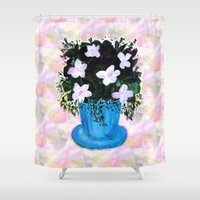 Blue Vase With Foliage A… Shower Curtain