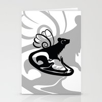 Winged Ferret (Black) Stationery Cards
