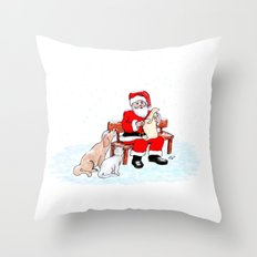 Merry Christmas - Santa Claus with Cat and Dog Throw Pillow
