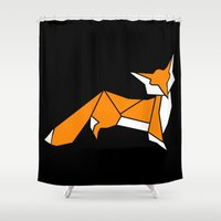 Origami Little Fox Shower Curtain