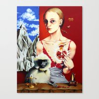 Lady With A Langur Canvas Print