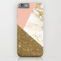 iPhone Cases featuring Gold marble collage by cafelab