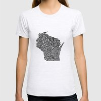 Typographic Wisconsin Womens Fitted Tee Ash Grey SMALL