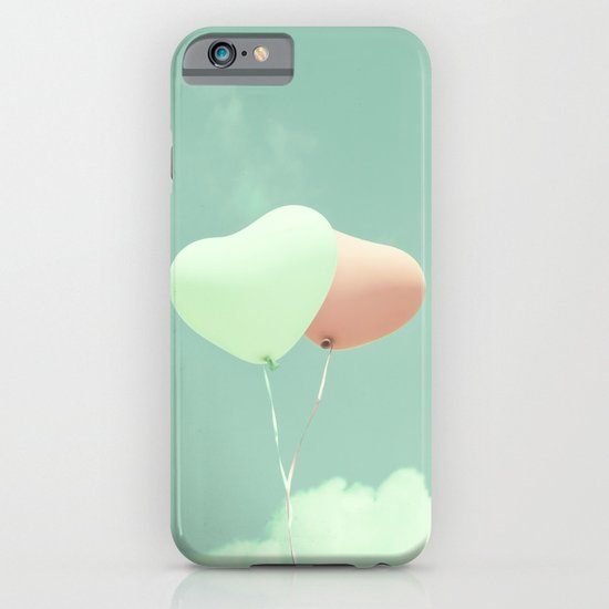 Innocent Love, Pink heart balloons on soft blue sky iPhone & iPod Case