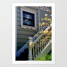 Upstairs Reflected, Down… Art Print