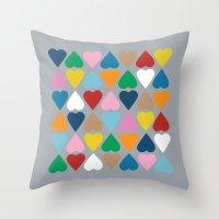 Diamond Hearts On Grey Throw Pillow