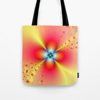Floral Sprays in Red and Yellow Tote Bag