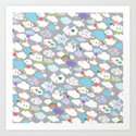 Clouds and Rainbows Kawaii Pattern Art Print