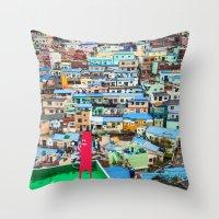 NUM NUM on Colourful house  Throw Pillow