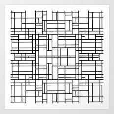Map Outline Black on White  Art Print