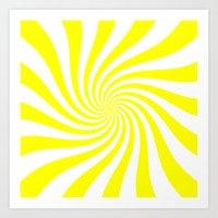 Swirl (Yellow/White) Art Print
