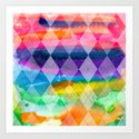 Argyle and Watercolor Abstract Art Print
