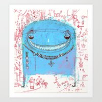 Blue Monster Art Print