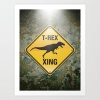 T-Rex Crossing Art Print