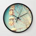 Honey Bunny, Ferris Wheel on Blue Sky Wall Clock