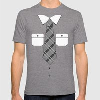 Shirt & Tie 2: New Tie Mens Fitted Tee Tri-Grey SMALL