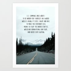 Quote For The Road Art Print