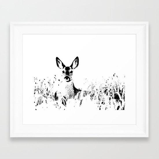 ROE DEER BLACK ON WHITE Framed Art Print
