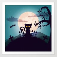 Art Print featuring Cat In The Moon Light by Bimorecreative