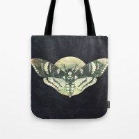 Moth And Moon Tote Bag