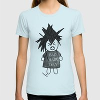 Bad Hair Day Womens Fitted Tee Light Blue SMALL