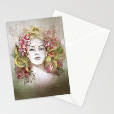 September sun glowing golden hair Stationery Cards
