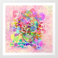 Girly Sugar Skull Pink G… Art Print