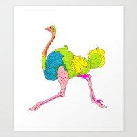 Fashion Animals, Spring 2014 Collection: Vert Autruche Amour Art Print