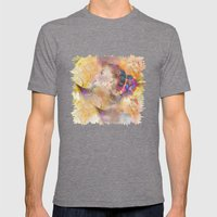 profile woman and flowers Mens Fitted Tee Tri-Grey SMALL
