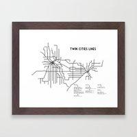 Twin Cities Lines Map Framed Art Print